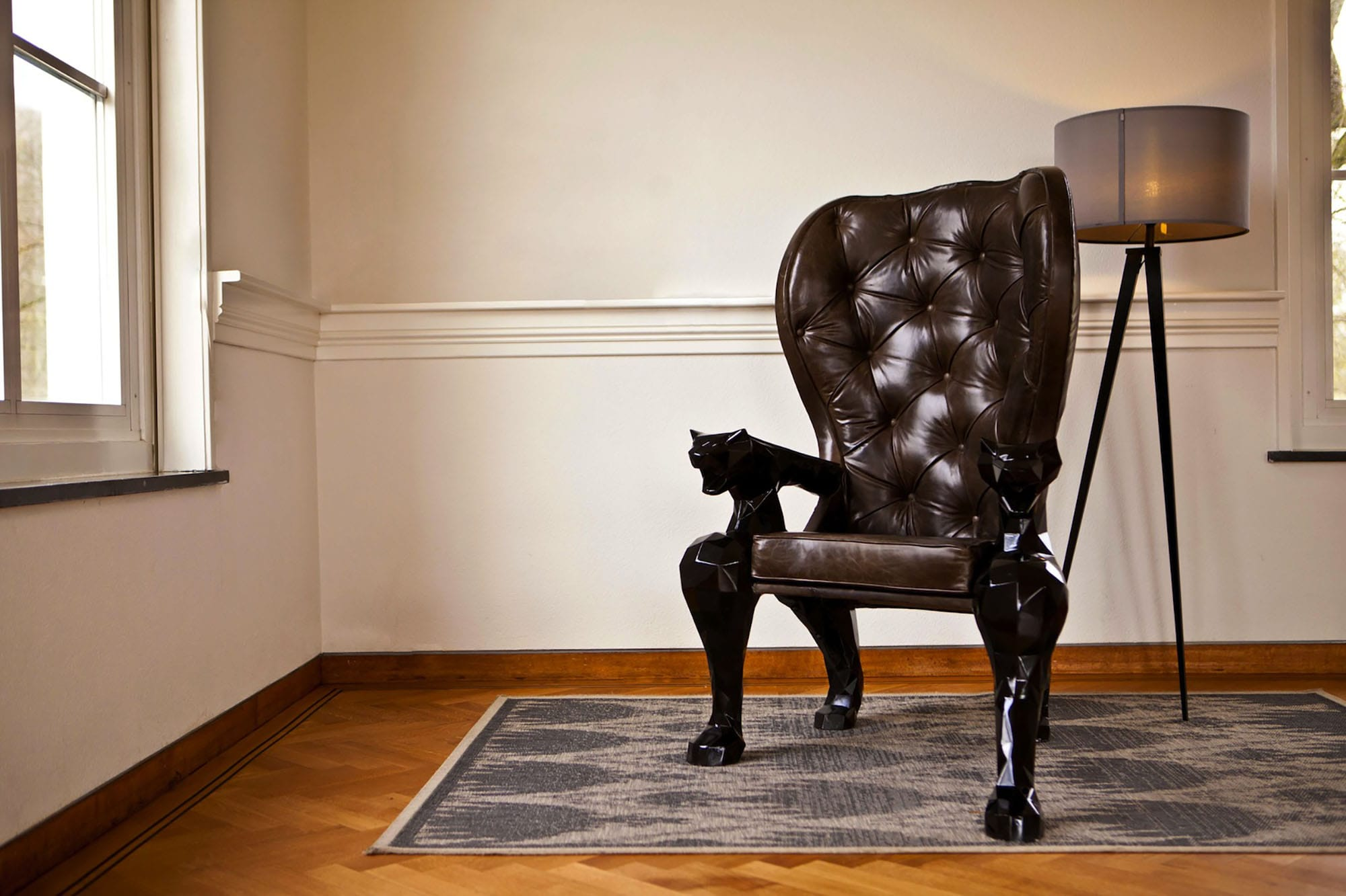 jasser studio - skin collection animal design furniture geometry geometric fauteuil black king lion